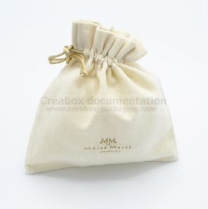 closed bag in brushed cotton for jewellery -10x10 cm