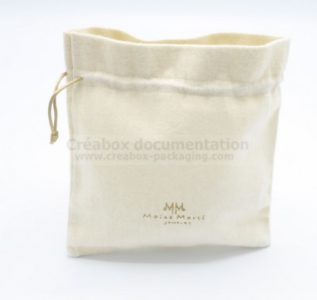 open bag in brushed cotton for jewellery -10x10 cm