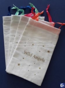 collection of bags : gold printing on both sides, color ribbon