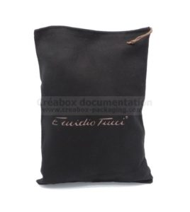 black cotton shoe bag - 27x36 cm gold print